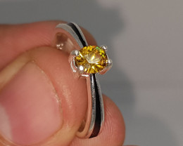 Natural Fire Sphene 12.00 Carats 925 Silver Ring N02