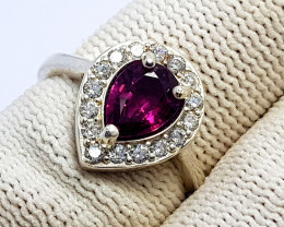 Natural Pink  Garnet CZ Ring 925 Sterling Silver
