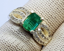 Natural Green Tourmaline CZ Ring 925 Sterling Silver