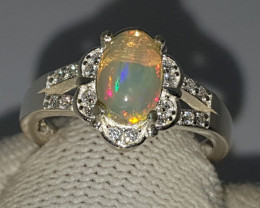 Natural Muti Fire Opal CZ Ring 925 Sterling Silver