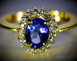 Tanzanite 2.10ct Natural Diamonds Solid 18K Yellow Gold Cocktail Ring
