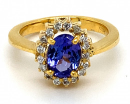 Tanzanite 2.10ct Natural Diamonds Solid 18K Yellow Gold Cocktail Ring