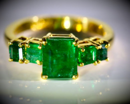 Columbian Emerald 3.47ct Solid 22K Yellow Gold Multistone Ring 7g