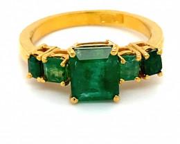 Columbian Emerald 3.47ct Solid 22K Yellow Gold Multistone Ring 7g