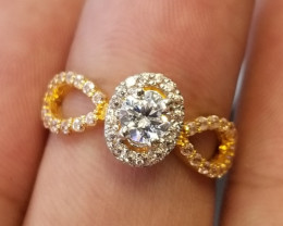 21K Gold Ring with CZ