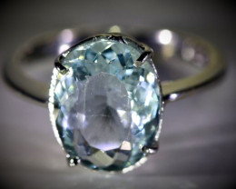 Aquamarine 4.55ct Solid 18K White Gold Ring 4.23g