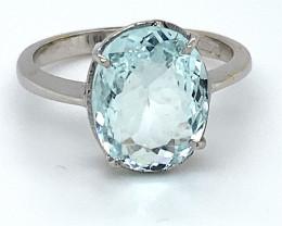 Aquamarine 4.55ct Solid 18K White Gold Ring 4.23g