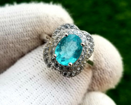 17.60 Dazzling Skyblue color Apatite in 925 Sterling Silver Ring.