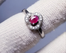 15.30ct Cute Tiny Ruby In 925 Sterling Silver Ring