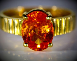 Mandarin Spessartine 3.30ct Solid 22K Yellow Gold Ring  5.38g