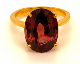 Red Zircon 10.35ct Solid 22K Yellow Gold Ring