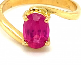 Burmese Ruby 1.60ct Solid 18K Yellow Gold Ring 4g