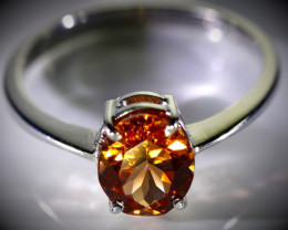Spessartine 2.36ct Solid 18K White Gold Ring