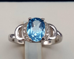 Natural Topaz with CZ Ring.