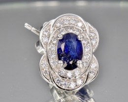 Natural Blue Sapphire, CZ and 925 Silver Earring, Elegant Design
