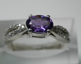NATURAL AMETHYST STERLING 92.5 SILVER RING SIZE ( 7 US )