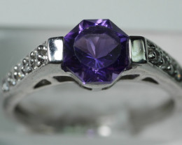 BEAUTY NATURAL AMETHYST STERLING 92.5  SILVER RING SIZE ( 6.50 US)