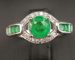 Natural Emerald and CZ Ring