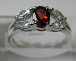 NATURAL RED GARNET  RING 92.5 SOLID SILVER   [ 7.25 US ]