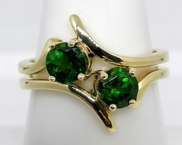 Set of 2 Chrome Diopside Rings 0.95 TCW - 9KT. GOLD