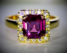 GIA Certified Spinel 4.06ct Natural Diamonds Solid 18K Yellow Gold Ring
