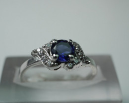 NATURAL ILOITE ROUND SHAPE 92.5 STERLING RING (6.50 US)
