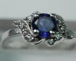 NATURAL IOLITE ROUND SHAPE 92.5 STERLING RING (6.50 US)