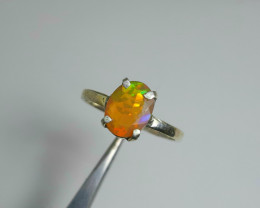 7.00 Carats multifire opal 925 Silver Ring, 9x7x3mm.