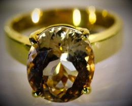 Imperial Topaz 8.74ct Solid 18K Yellow Gold Ring 8.65g