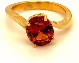 Spessartine 5.15ct Solid 18K Yellow Gold Ring 5g