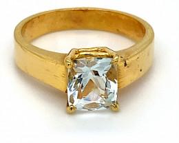 Aquamarine 1.77ct Solid 18K Yellow Gold Ring 6g