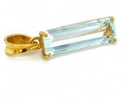 Aquamarine 6.51ct Solid 18K Yellow Gold Pendant