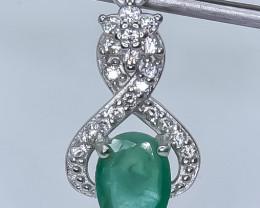 15.10 Crt Emerald 925 Silver Pendant