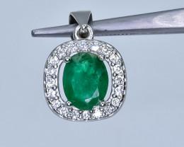 15.00 Crt Emerald 925 Silver Pendant