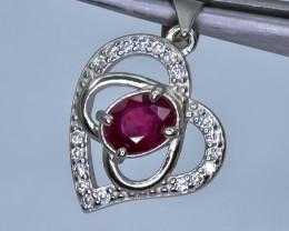 14.98 Crt Rhodolite Garnet 925 Silver Pendant