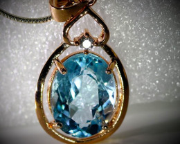 Blue Topaz 8.85ct Rose Gold Finish Solid 925 Sterling Silver Pendant