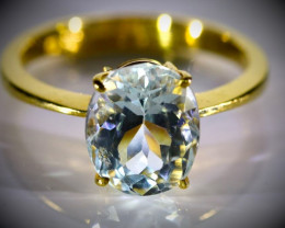 Aquamarine 3.70ct Solid 22K Yellow Gold Ring