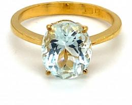 Aquamarine 3.70ct Solid 22K Yellow Gold Ring