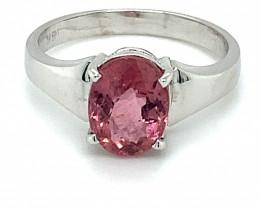 Pink Tourmaline 1.68ct Solid 18K White Gold Ring