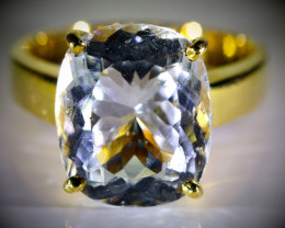 Aquamarine 7.70ct Solid 18K Yellow Gold Ring