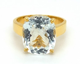 Aquamarine 7.70ct Solid 18K Yellow Gold Ring