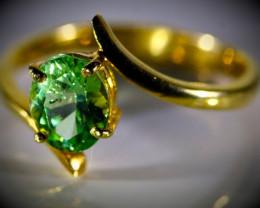 Merelani Mint Garnet 1.26ct Solid 22K Yellow Gold Ring