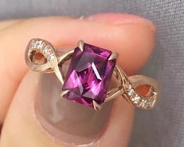 14K Rose Gold Authentic Umbalite Garnet Diamond Engagement Ring