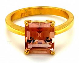 Pink Tourmaline 3.38ct Solid 22K Yellow Gold Ring