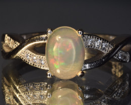 Natural Fire Opal, CZ and 925 Silver Ring