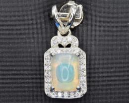 Natural Fire Opal, CZ and 925 Silver Pendant, Elegant Design