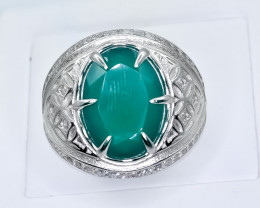 50.38 Crt Green Agate 925 Silver Ring