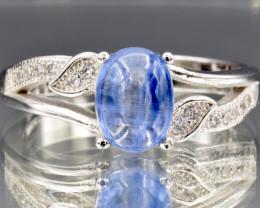 Natural Kyanite, CZ and 925 Silver Ring