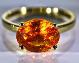 Mandarin Spessartine 5.30ct Solid 18K Yellow Gold Ring