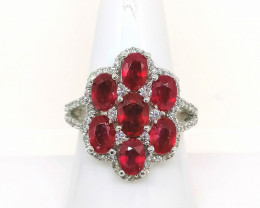 Ruby and White Zircon Ring 6.00 TCW